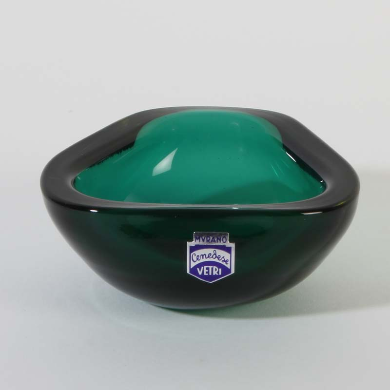 cenedese murano glass ashtray opaline glass vaseline green gold vintage 50ies ebay